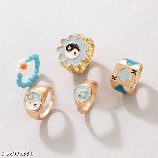 6 pcs Y2K Chunky Gold Stacking Rings Thick Dome Enamel Stackable Finger Band Ring Set Heart Smiley Face Flower Yin Yang Poker Signet Ring Jewelry for Women and Girls
