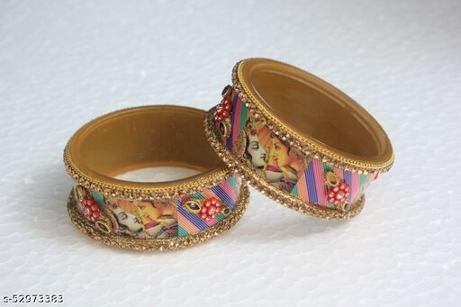 Material plastic Radha Krishna designer kada multi colour  Jewels Bridal Chuda Set For Wedding in Multicolour With Golden Kada  Small Chooda.This Punjabi Suhag Small/Short Chura is best for office,Party and Daily wear