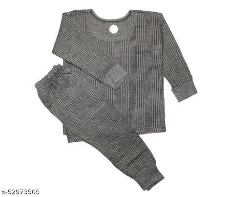 Boy/Girl Body  Warmer Thermal Winter Wear (Top + Bottom) Dark Grey Set of 1