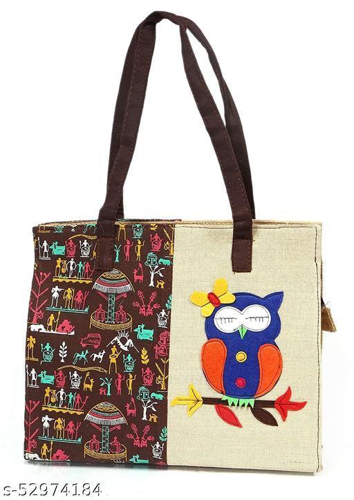 Jute Brown Owl Handbag, Shopping Bag