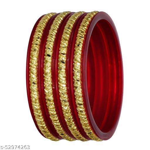 Joyeria Fashions Micro Plating Gold Plated Bangles Set (Pack of 4 Bangles)