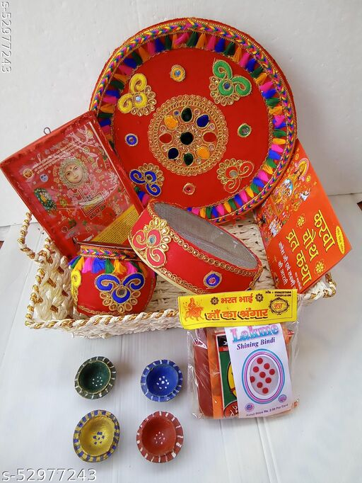 Traditional Handcrafted 7 piece Karwa ChauthPuja Thali Set with Red Gotta Pattern