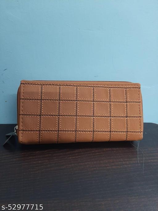 Woman Orange Brown Double Zip around  wallet 6 compartment
