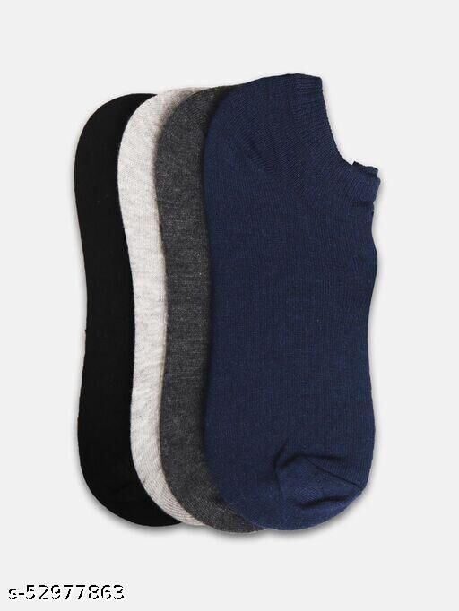 Unisex Premium Cotton Ankle Socks for Men and Women - Free Size, Pack of 4 Pairs