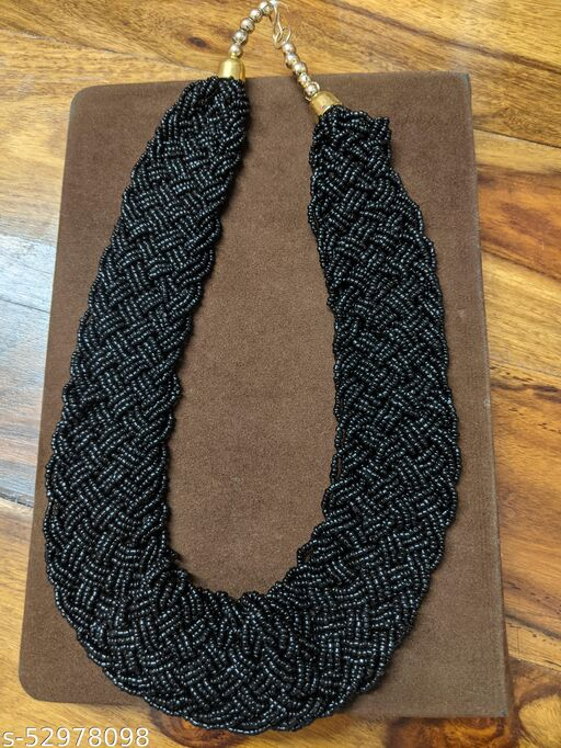 Hand Knitted Black Beads Beautiful Necklace