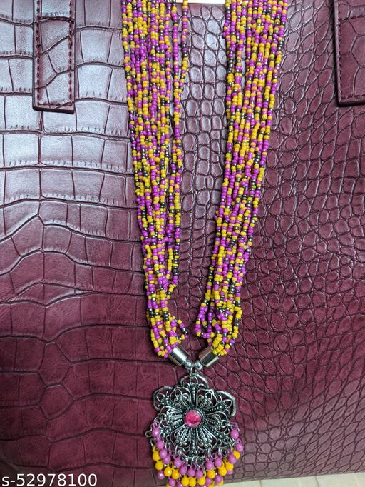 Multicolour Beads Hand Knitted Long Necklace