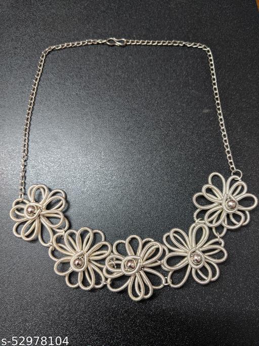Elegant Silver Flower Necklace