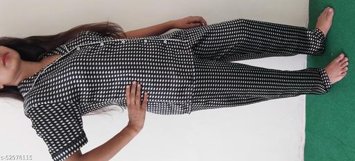 Night Suits/Dress Shirt & pyjama Set with Black White Square design