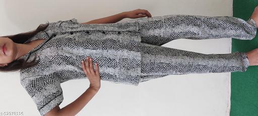 Night Suits/Dress Shirt & pyjama Set with Grey  Black Print