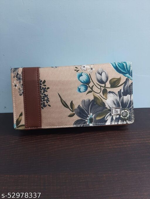 Woman Chocolate color wallet one fold 3 compartment 4 card holder