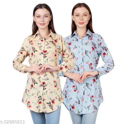 SHANAYA MODA Trendy Printed Women and Girls  Shirts Full Slevees Cream Printed and Light Blue Printed  Pack of 2