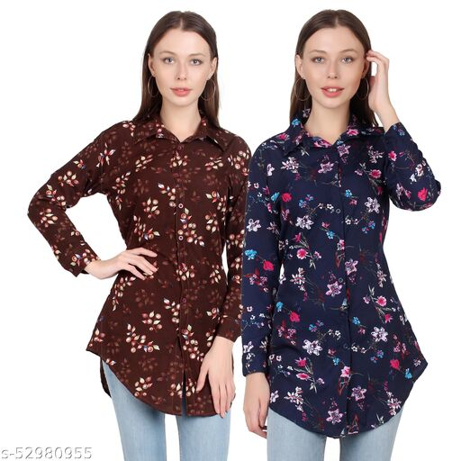 SHANAYA MODA Trendy Printed Women and Girls  Shirts Full Slevees Nevy 1 Printed and Brown Printed  Pack of 2