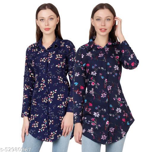 SHANAYA MODA Trendy Printed Women and Girls  Shirts Full Slevees Nevy 1 Printed and Nevy Printed  Pack of 2