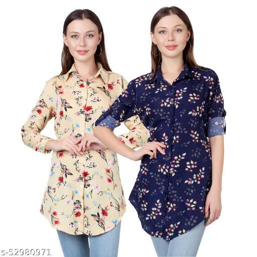 SHANAYA MODA Trendy Printed Women and Girls  Shirts Full Slevees Cream Printed and Nevy Printed  Pack of 2