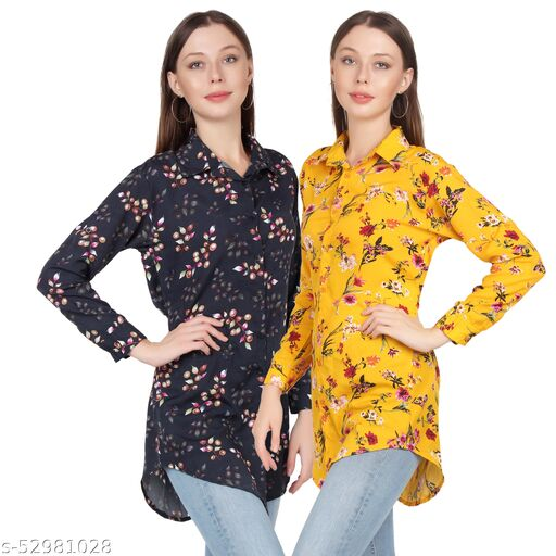 Heavens Creation Trendy Printed Women and Girls  Shirts Full Slevees Yellow Printed and Black Printed  Pack of 2