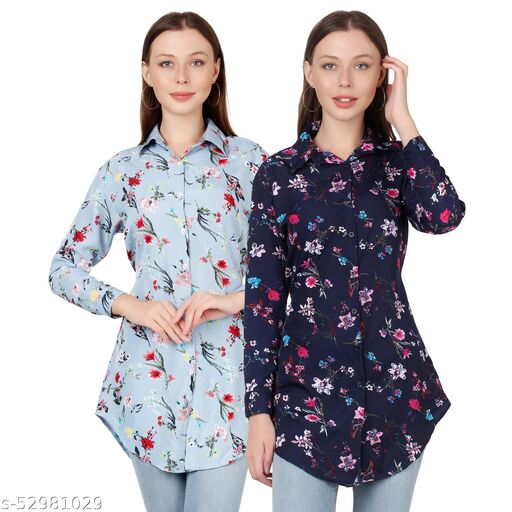 Heavens Creation Trendy Printed Women and Girls  Shirts Full Slevees Nevy 1 Printed and Light Blue Printed  Pack of 2