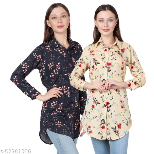Heavens Creation Trendy Printed Women and Girls  Shirts Full Slevees Cream Printed and Black Printed  Pack of 2