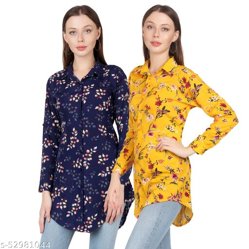 Heavens Creation Trendy Printed Women and Girls  Shirts Full Slevees Yellow Printed and Nevy Printed  Pack of 2