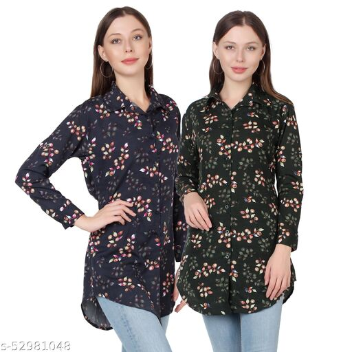 Heavens Creation Trendy Printed Women and Girls  Shirts Full Slevees Black Printed and Dark Green Printed  Pack of 2