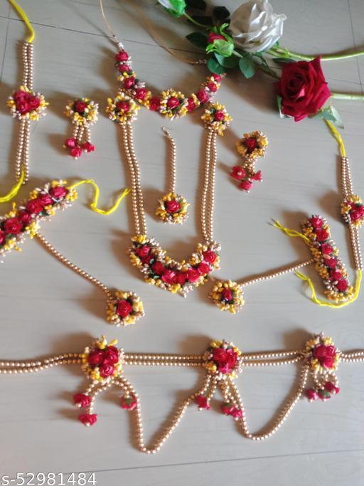 haldi flower jewellery set