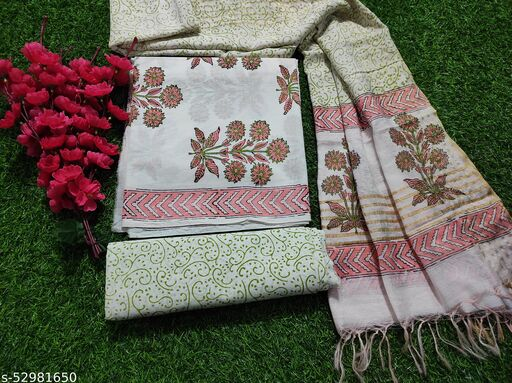Jaipuri, Bagru Hand Block Print Pure Cotton Suit Dress Material