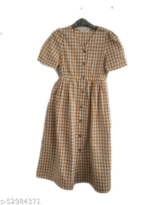 I AM FOR YOU Women Yellow Checked Printed Shirt Style Dress