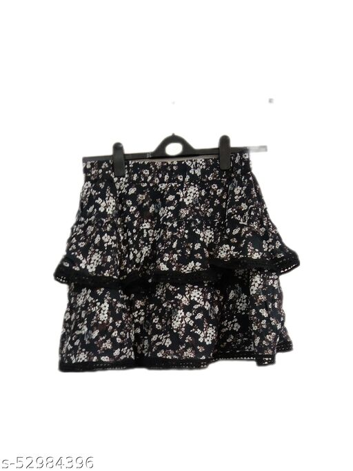 I AM FOR YOU Women Black Floral Printed Skirt