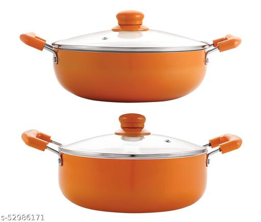 Nirlon Orange Aluminium Ceramic Coated Non-Stick Induction Based Kadhai 20 CM & Casserole 22 CM Combo Set