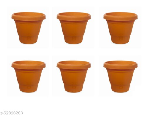 8.4 Inch Heavy Duty Plastic Joy Pot Planter Plant Container Set (Pack of 6, Brown)