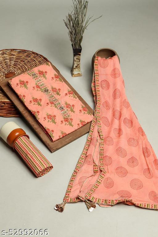 Peach 3 Piece set In Cotton Fabric with Resham, Beads & gota work on Neck