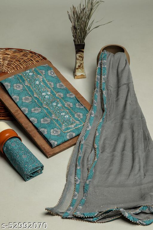 Rama Green 3 Piece printed set In Cotton Fabric with gota work on Neck