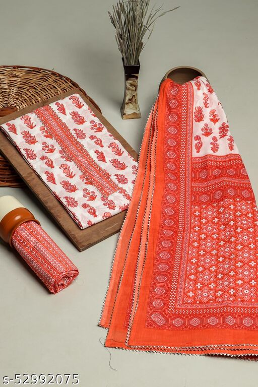 Red 3 Piece printed set In Cotton Fabric with gota work on Neck