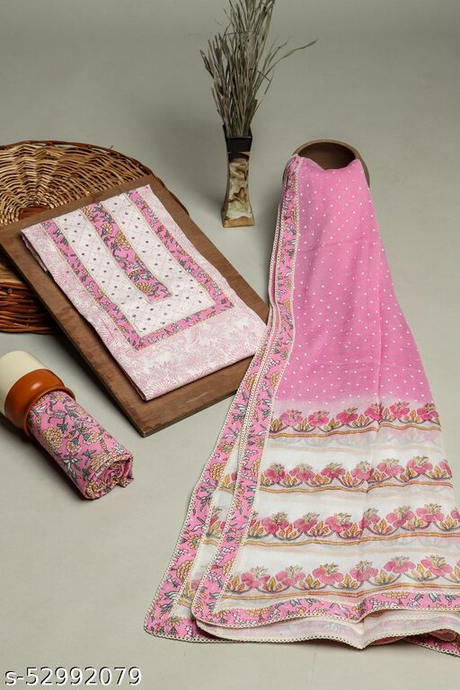 Pink 3 Piece set In Cotton Fabric with Mirror and gota work on Neck