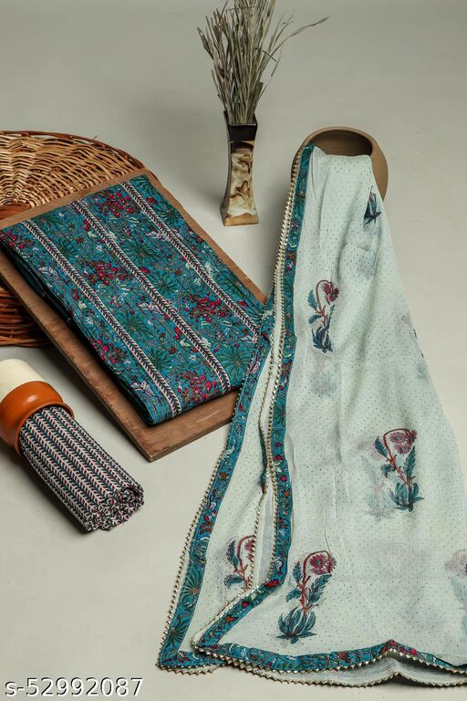 Green 3 Piece printed set In Cotton Fabric with gota work on Neck