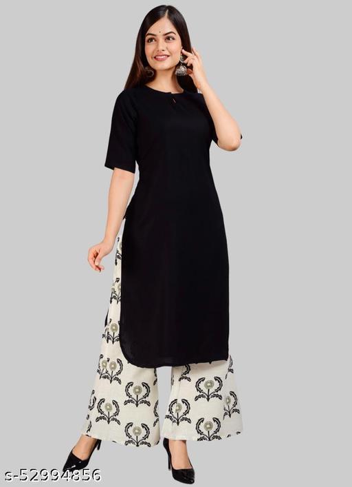 Niyal Apparels Women Black & Off-White Solid Rayon Kurta Palazzos Sets