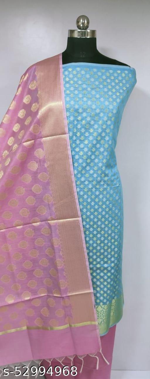 (H13Aqua Blue) Fashionable Partywear Banarsi Handloom Cotton Suit And Dress Material