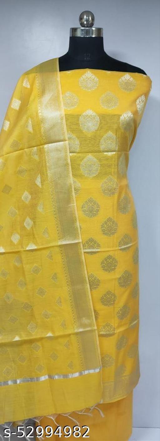 (H14Yellow) Fabulous Silver Zari Woven Banarsi Handloom Cotton Suit And Dress Material