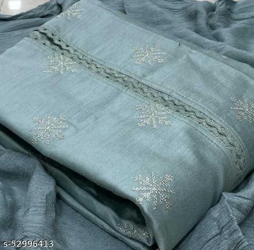 Mert India  Silk Embroidered Kurta & Churidar Material  (Unstitched)