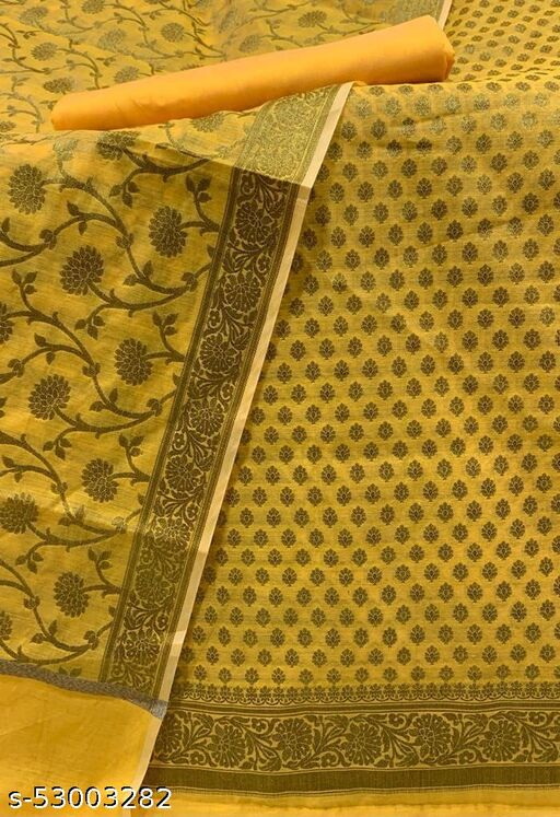 (12Yellow) Fabulous Wedding Special Banarsi Handloom Cotton Suit And Dress Material
