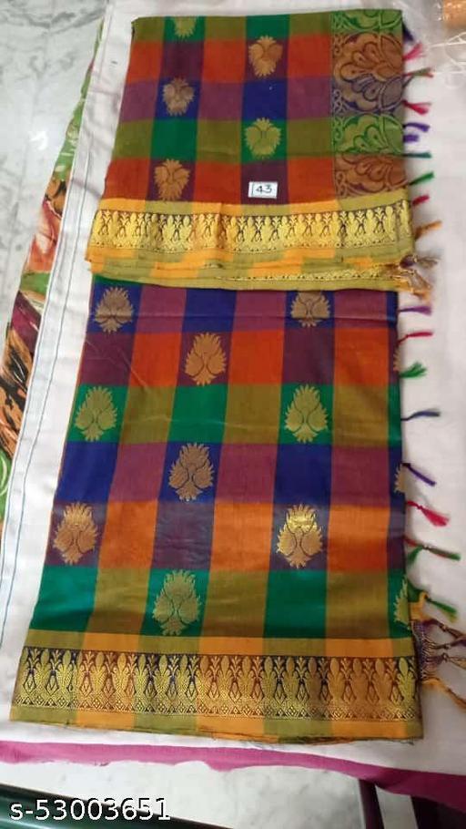 Madurai Maruthi OSP Sungudi Sarees - 7 yards Silk Cotton Handloom Saree with Rich pallu design including Blouse material attached - 16