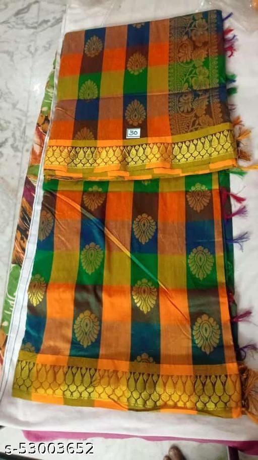 Madurai Maruthi OSP Sungudi Sarees - 7 yards Silk Cotton Handloom Saree with Rich pallu design including Blouse material attached - 13