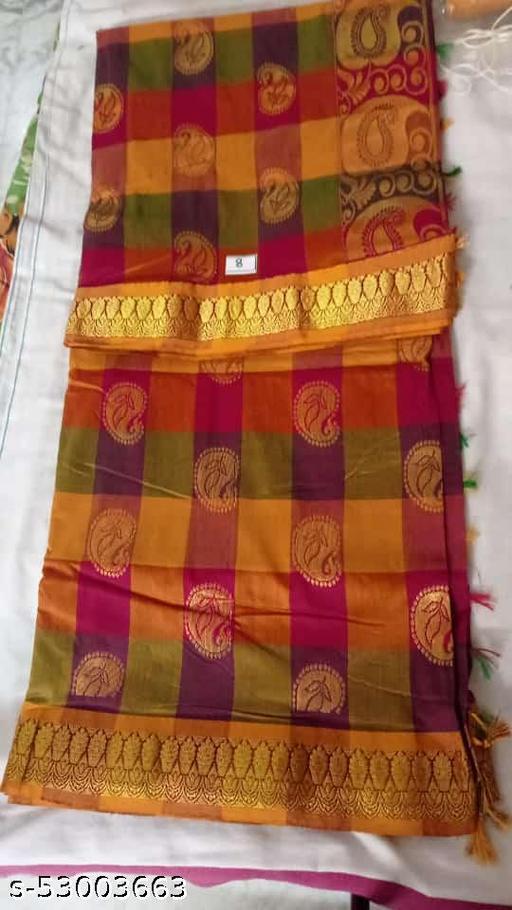Madurai Maruthi OSP Sungudi Sarees - 7 yards Silk Cotton Handloom Saree with Rich pallu design including Blouse material attached - 4