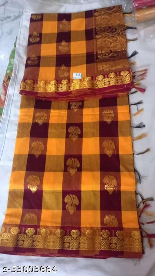 Madurai Maruthi OSP Sungudi Sarees - 7 yards Silk Cotton Handloom Saree with Rich pallu design including Blouse material attached - 7