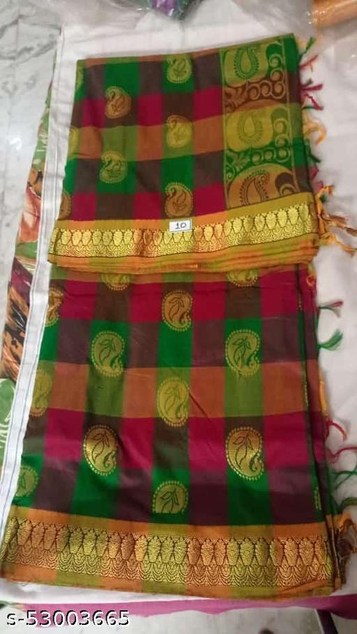 Madurai Maruthi OSP Sungudi Sarees - 7 yards Silk Cotton Handloom Saree with Rich pallu design including Blouse material attached - 5