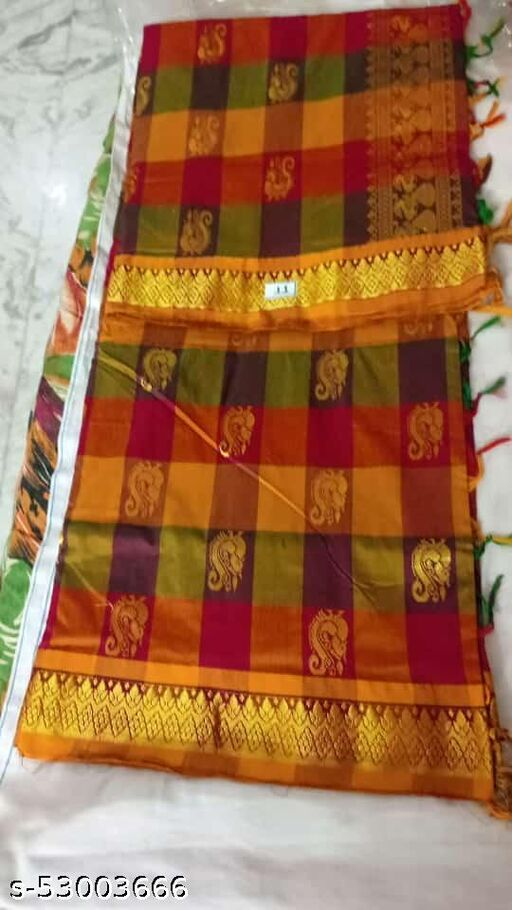 Madurai Maruthi OSP Sungudi Sarees - 7 yards Silk Cotton Handloom Saree with Rich pallu design including Blouse material attached - 6