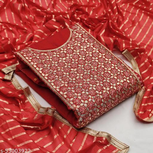 Red Fancy Modal Chanderi Embriodered Designer Unstitched Salwar Suit Material.