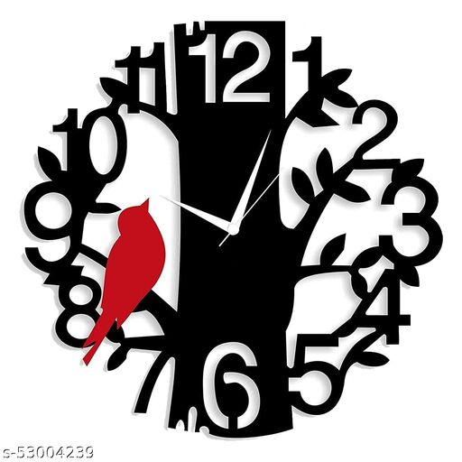 Ingo creation Analog Wall Watch for Home -Wall Clock for Living Room Hall Bedroom Office Stylish (30 cm X 30 cm Wall Clock - Red, Black, Without Glass)