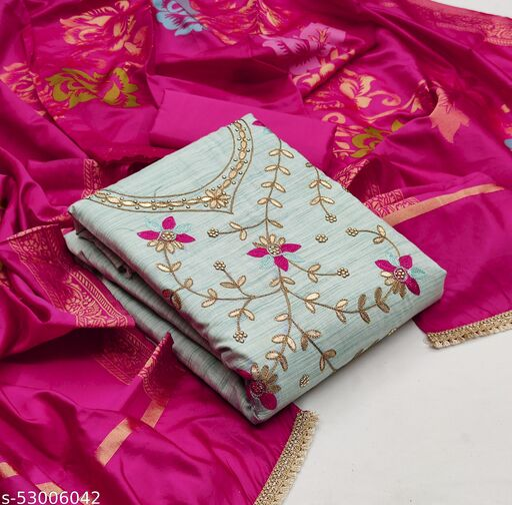 Grey Fancy Fancy Cotton Embriodered Designer Unstitched Salwar Suit Material.
