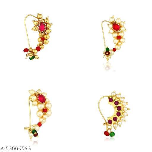 MEENAZ Maharashtrian south indian Traditional Pearl Temple Jewellery marathi Nathni Banu Nathiya combo set Nose pin marathmoli Nath Nose Ring for Wedding bridal Women Girls Latest design Combo Gold Press pin Non pierced For women girls