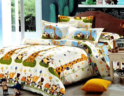 Trendy Cartoon Printed 100X90 Double Bedsheet